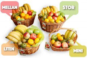 Våra fruktkorgar - storlekar